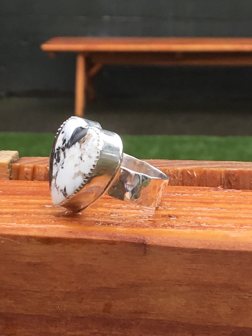 White Buffalo and Fine/Sterling Silver Ring ( Size 7.5)