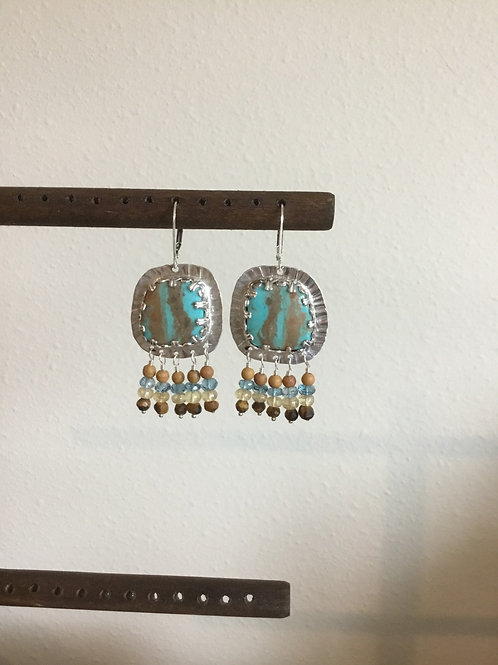 Kingman Turquoise and Sterling Silver Earrings with Gemstone Accents