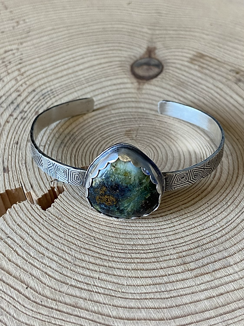 Indonesian Opalized Wood with Native Copper and Fine/Sterling Silver  Cuff