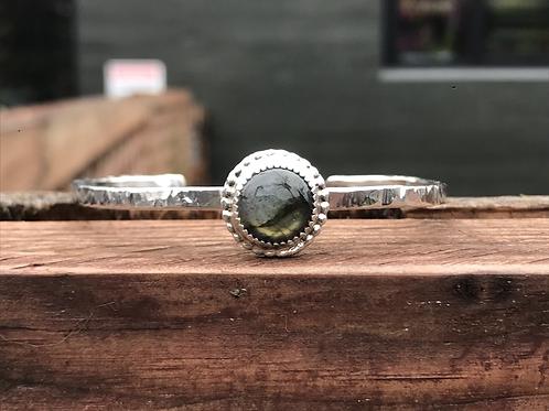 Labradorite and Fine/Sterling Silver Bangle Cuff