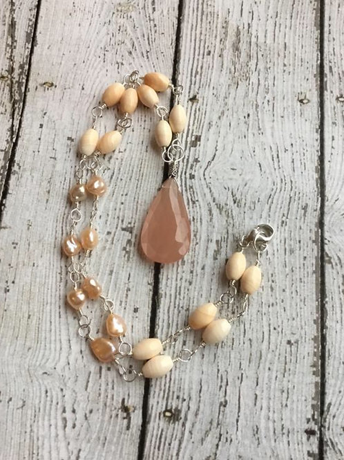 Moonstone, Italian Corneola Shell, Freshwater Pearls & Sterling Silver Necklace