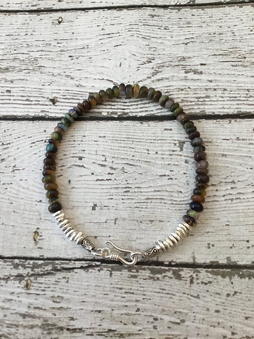 Ethiopian Opal and Fine Silver Bracelet
