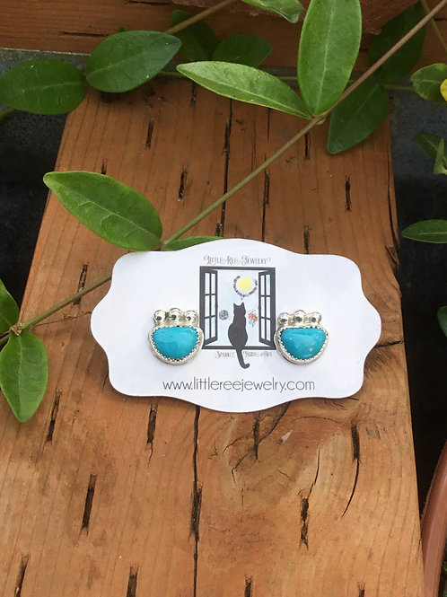 Fox Turquoise and Fine/Sterling Silver Post Earrings