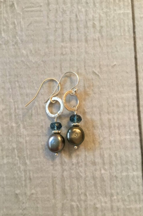 AAA Tahitian Baroque Pearls, AAA London Blue Topaz and Sterling Silver Earrings