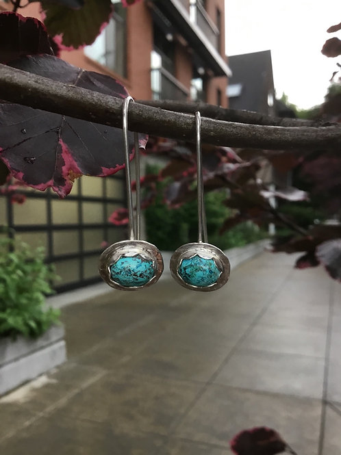 Shattuckite and Fine/Sterling Silver Earrings