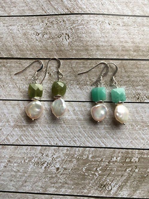 AAA Japanese Keishi Freshwater Pearl, Amazonite and Sterling Silver Earrings