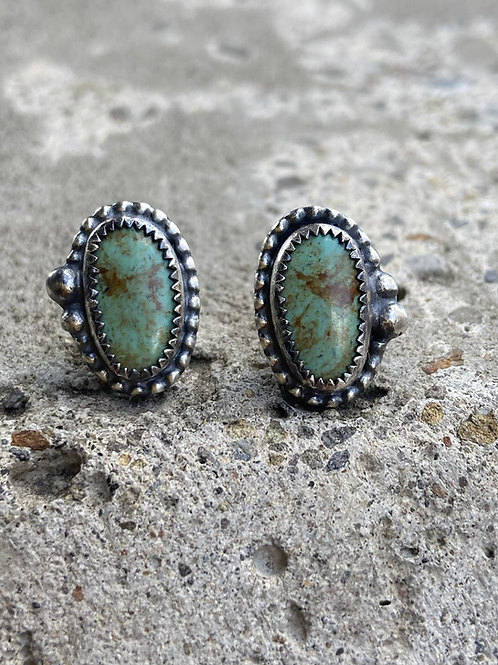 Kingman Turquoise and Oxidized Fine/Sterling Post Earrings