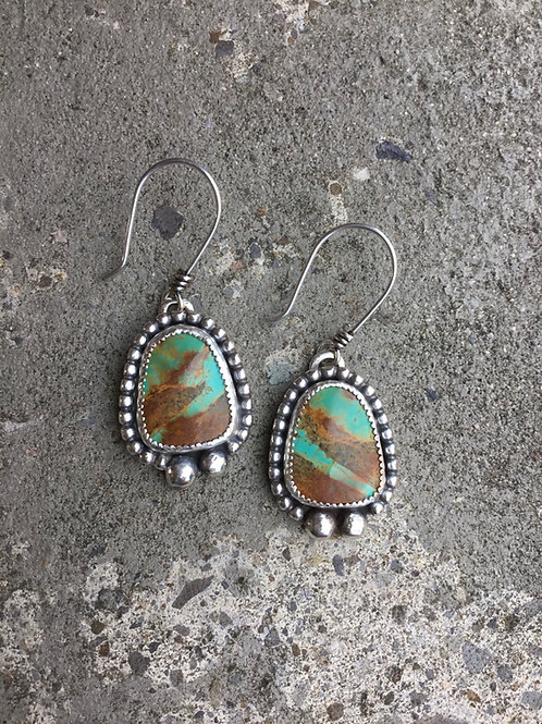 Kingman Turquoise and Fine/Sterling Silver Earrings