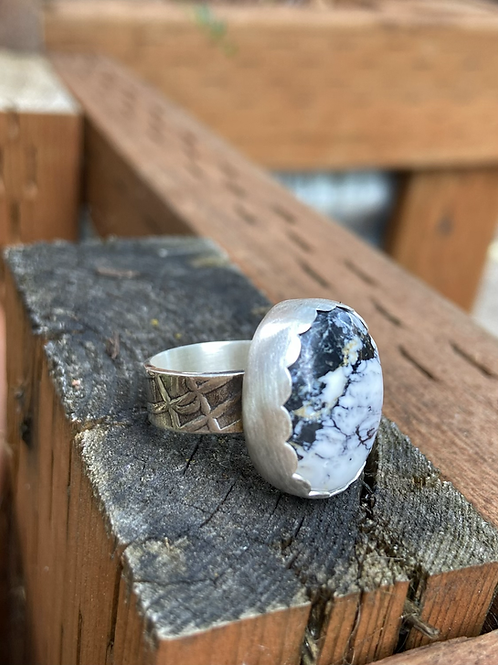 White Buffalo and Fine/Sterling Silver Ring (size 7.5)