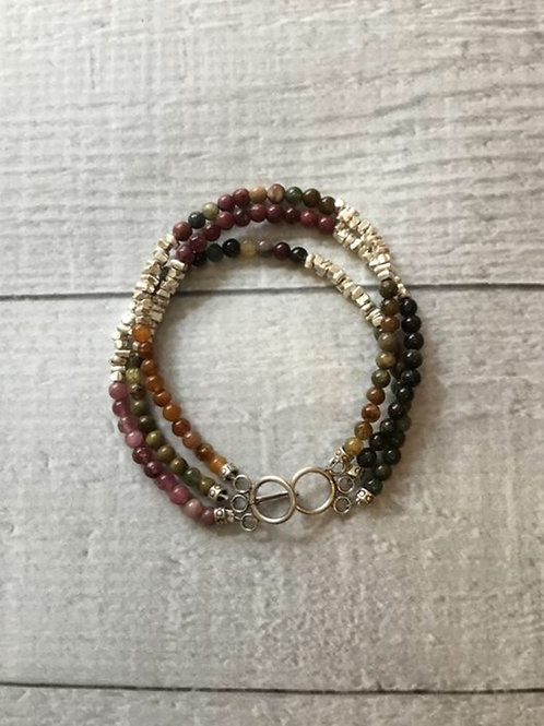 Tourmaline and Fine/Sterling Silver Bracelet