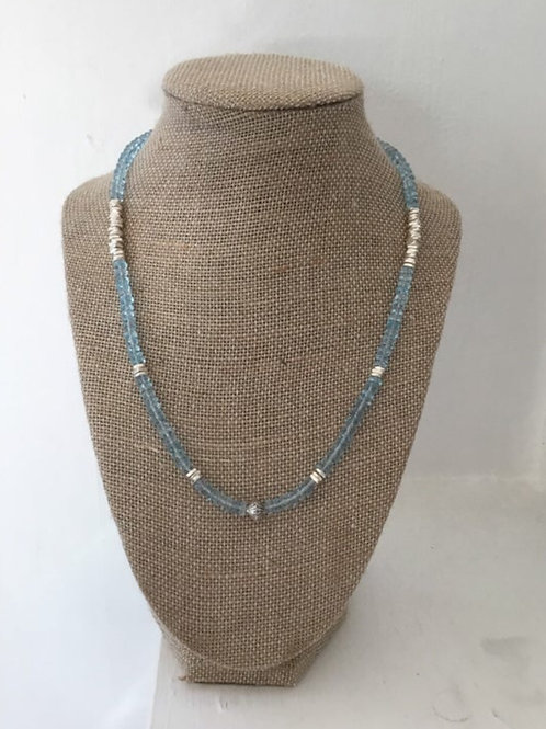 AAA Sky Blue Topaz and Fine Silver Necklace