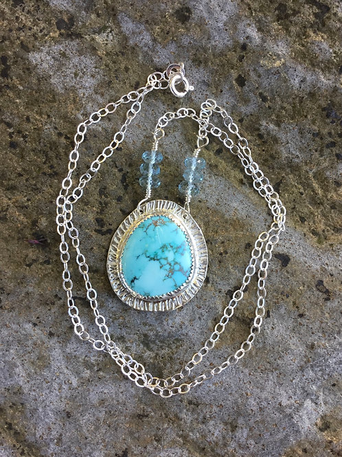 Natural Blue Moon Turquoise & Fine/Sterling Silver Necklace w/ Sky Blue Accents