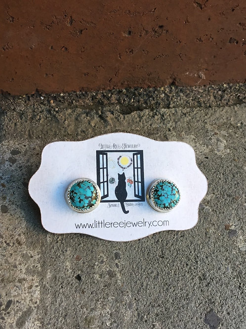 No. 8 Turquoise and Fine/Sterling Silver Post Earrings