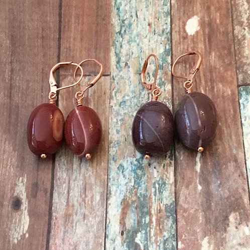 Mookaite and Copper Earrings