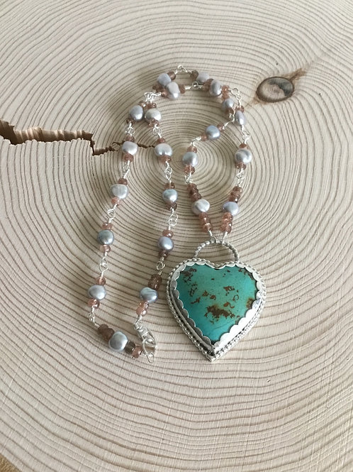 Kingman Turquoise, Freshwater Pearls, Andalusite & Fine/Sterling Silver Pendant