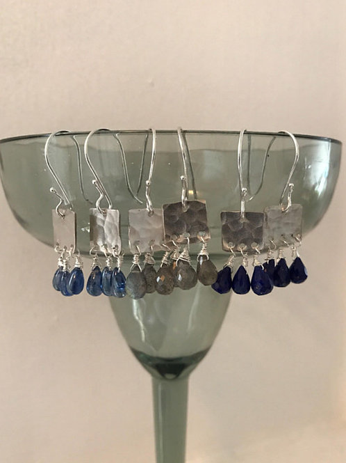 Gemstone and Sterling Silver Block Earrings
