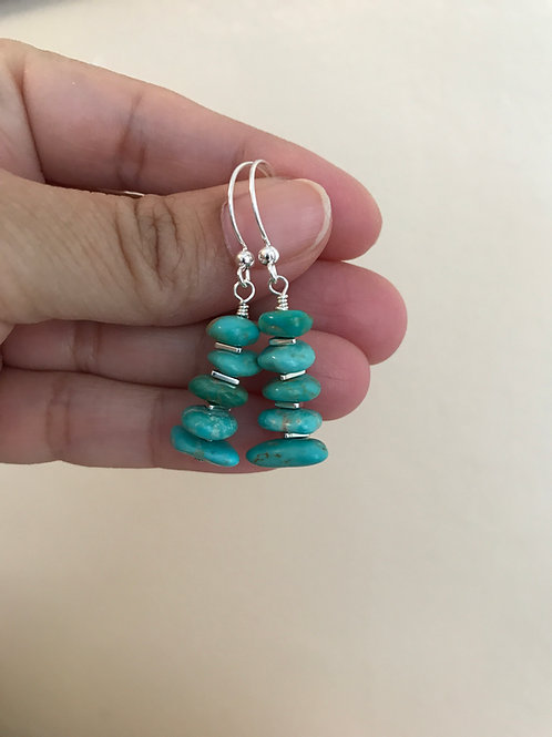 Kingman Arizona Turquoise and Sterling Silver Earrings