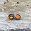 Thumbnail: Rustic Baltic Amber and Oxidized Fine/Sterling Post Earrings