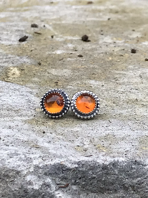 Rustic Baltic Amber and Oxidized Fine/Sterling Post Earrings
