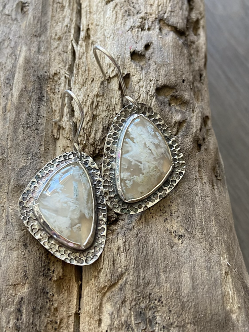 White Plume Agate and Oxidized Fine/Sterling Silver Earrings