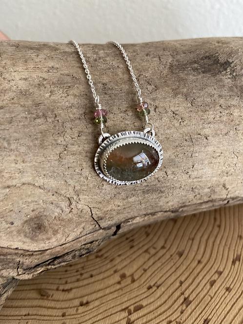 Tri-Colored Tourmaline and Fine /Sterling Silver Pendant Necklace
