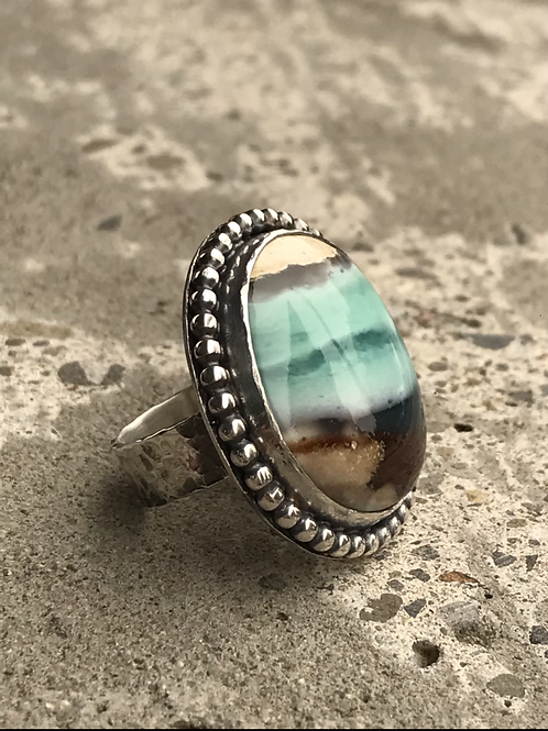 Indonesian Opalized Wood and Fine/Sterling Silver Ring (size 8.75)