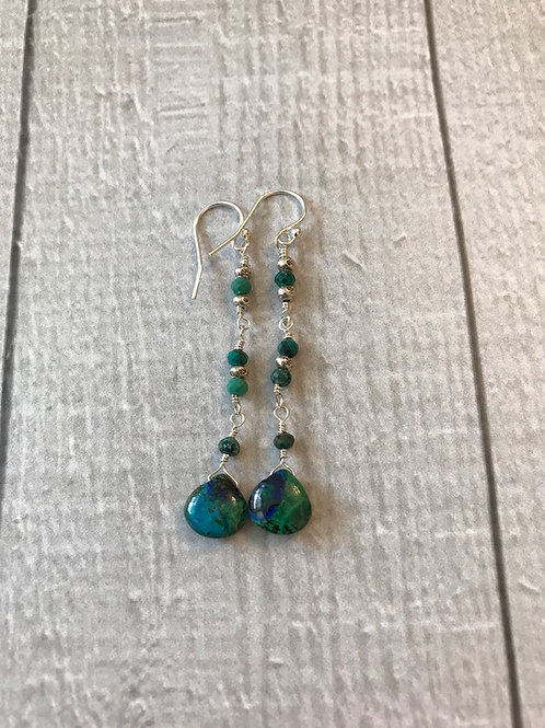 Mazurite, Chrysocolla and Fine/Sterling Silver Earrings