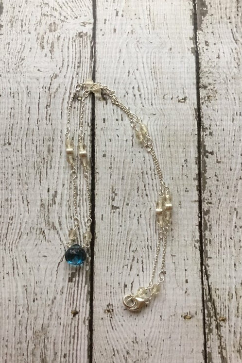AAA London Blue Topaz, AAA Yellow Labradorite & Sterling Silver Necklace