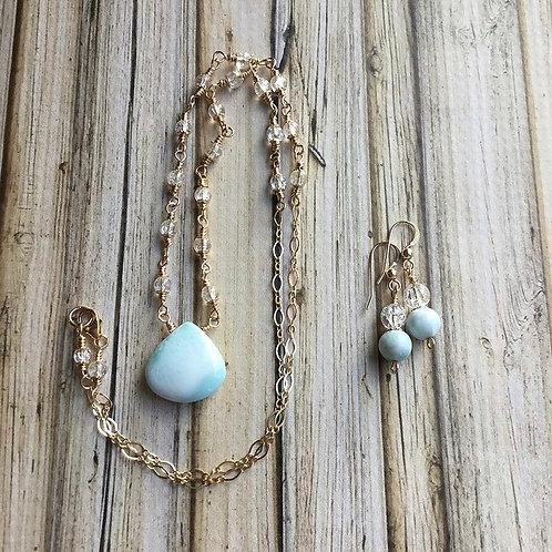High Grade Larimar, Clear Cracked Quartz & 14k GF Earrings and Necklace Set