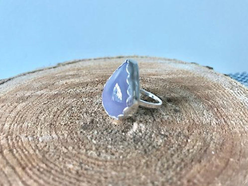 Rare Holley Blue Agate and Fine/Sterling Silver Ring - Size 4.25