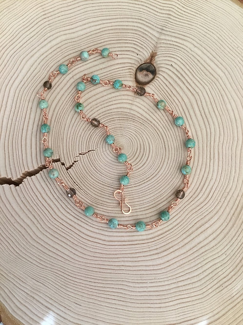 Rare Patagonia Turquoise, Smoky Quartz and Copper Necklace