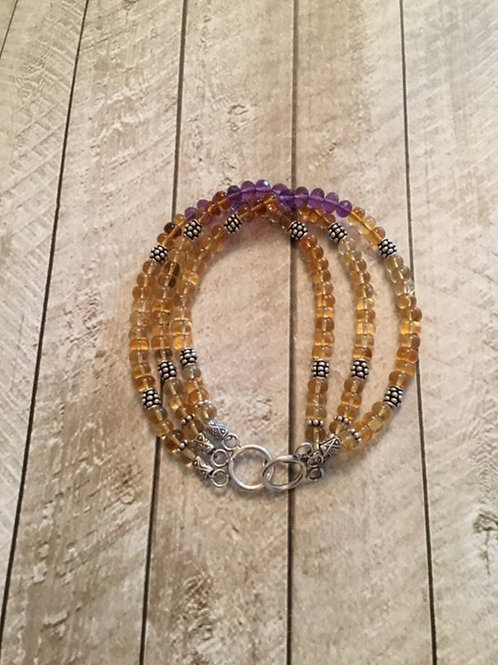 Triple Strand Shaded Citrine, AAA Amethyst and Fine/Sterling Silver Bracelet