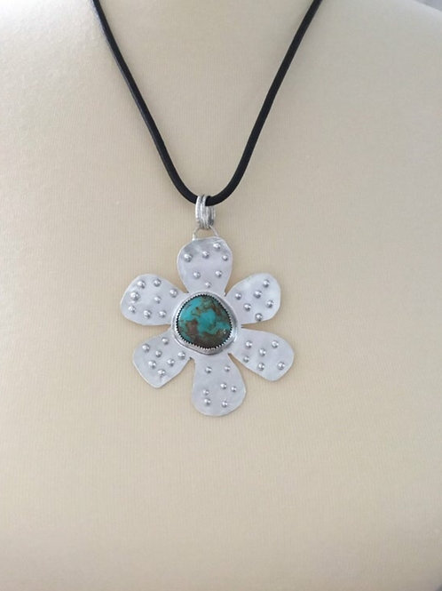 Kingman Turquoise and Fine/Sterling Silver Pendant with Leather Cord
