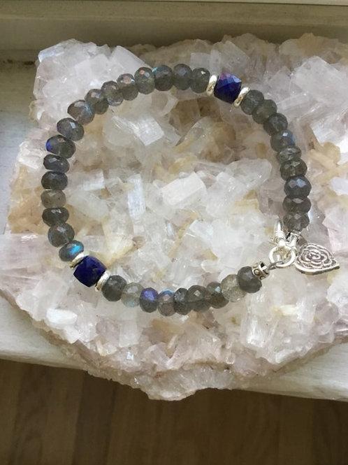 Labradorite, Lapis and Fine Silver Bracelet
