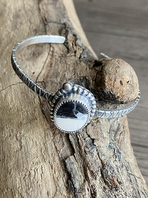 White Buffalo and Fine/Sterling Silver Cuff