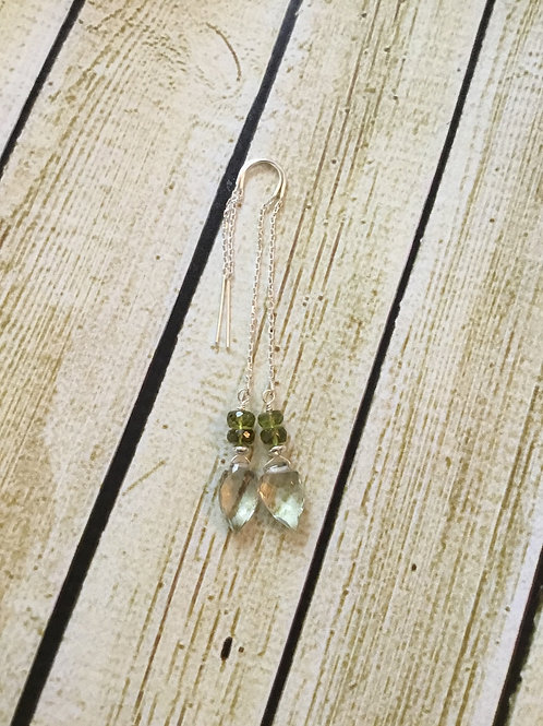 Prasolite , AAA Green Chrome Tourmaline and Sterling Silver Threader Earrings