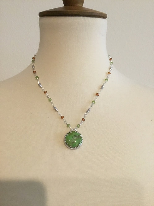 Rare Gaspeite, Peridot, Garnet, Freshwater Pearl and Sterling Silver Necklace