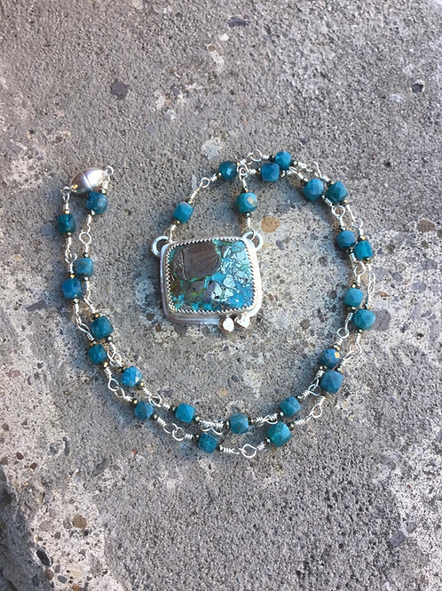 Turquoise and Fine/Sterling Necklace w/Apatite, Pyrite  & 14k SOLID Gold Accents