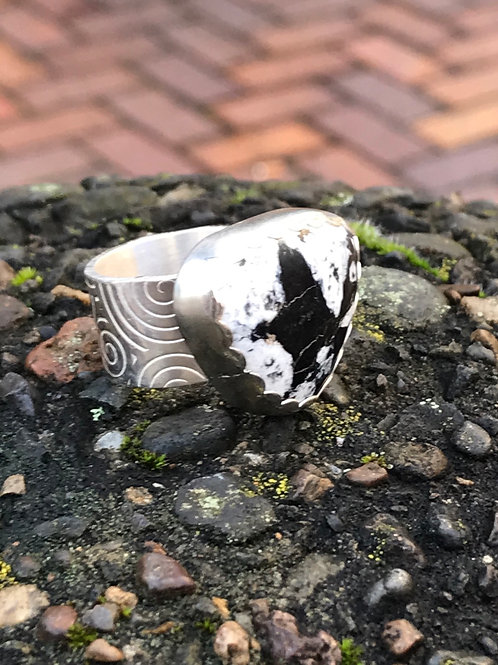 White Buffalo and Fine/Sterling Silver Ring (size 9)