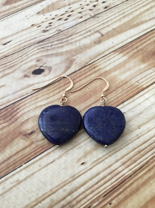 Lapis Hearts and 14k Gold Fill Earrings