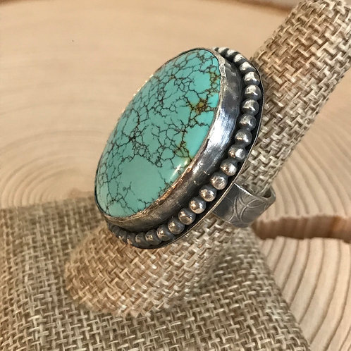 No 8 Turquoise and Oxidized  Fine/Sterling Silver Ring (size 8)