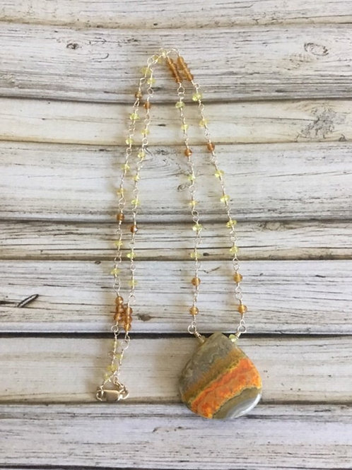 Bumblebee Jasper, AAAA Yellow Sapphires, AAA Citrine & 14k SOLID Gold Necklace