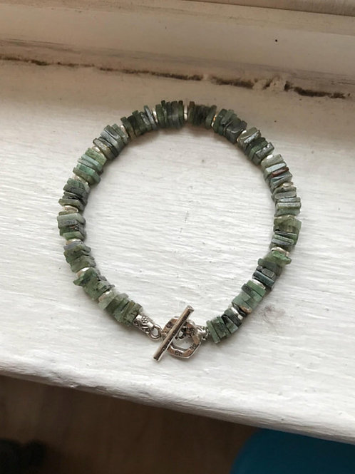 Heishi Emerald and Fine Silver Bracelet