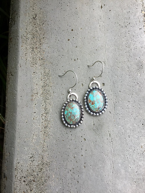 Red Matrix Number 8 Turquoise and Fine/Sterling Silver Earrings