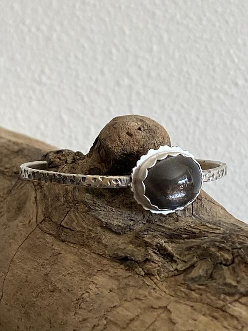 Black Star Sunstone and Fine/Sterling Silver Bangle Cuff