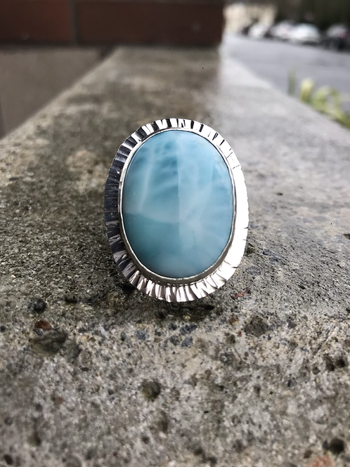 AAA Larimar and Fine/Sterling Silver Ring (size 7)