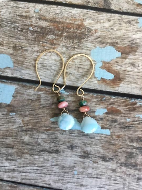 AAA Larimar, Spiny Oyster Shell, Turquoise & Hammered 14k SOLID Gold Earrings