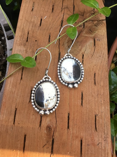 White Buffalo and Fine/Sterling Silver Earrings