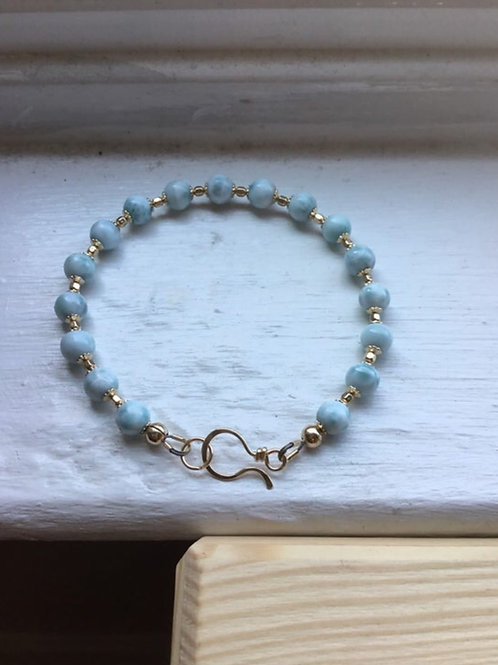 Larimar and 14k Gold Fill Bracelet