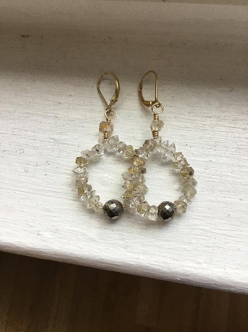 Fluorescent Petroleum Quartz and 14k Gold Fill Earrings